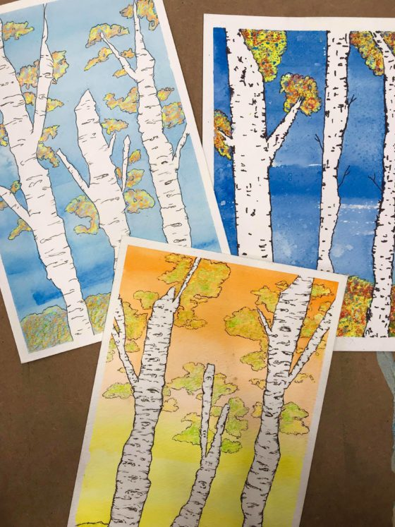 Easy Fall Birch Tree Art Tutorial