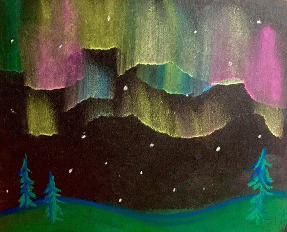 Easy Northern Lights Chalk Pastel Tutorial