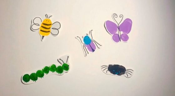 Easy Finger Painted Spring Bugs