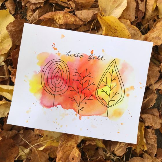 Easy Fall Watercolor Doodle Trees