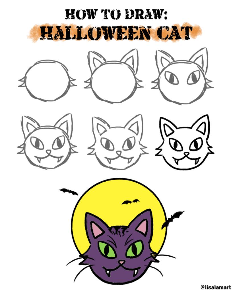 How To Draw Halloween Cat Scyap