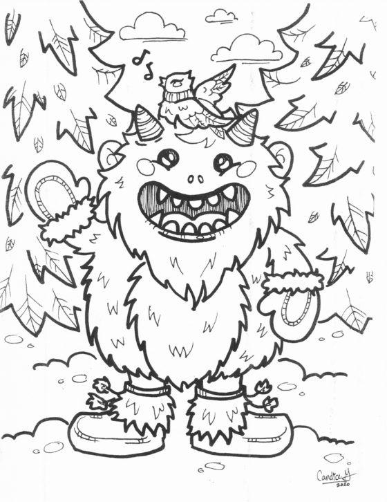Winter Monster Colouring Sheet