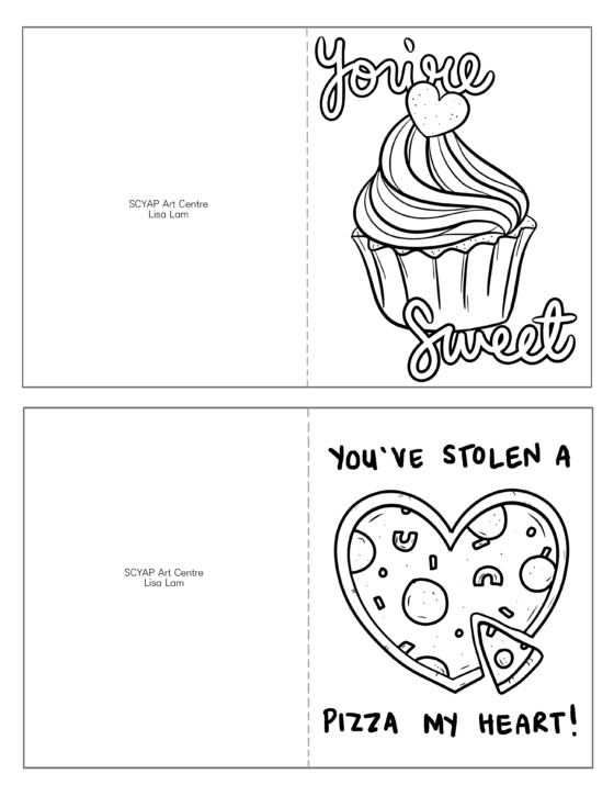 Print, Colour and Cut Valentine Cards