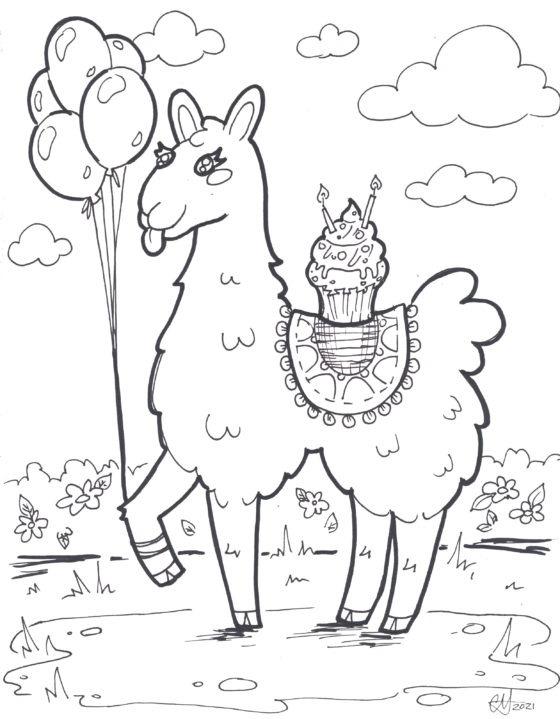 Llama Colouring Sheet