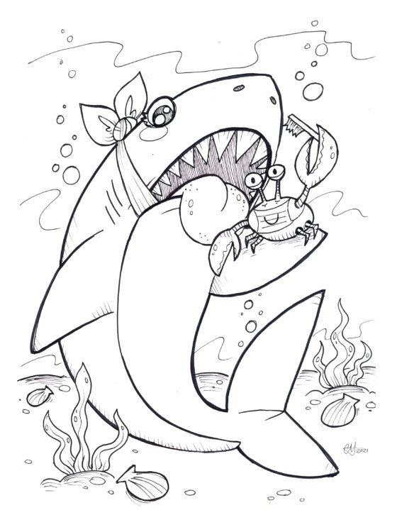 Shark Colouring Sheet