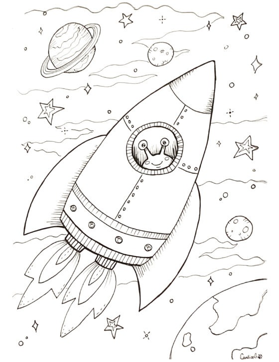Space Ship Colouring Sheet