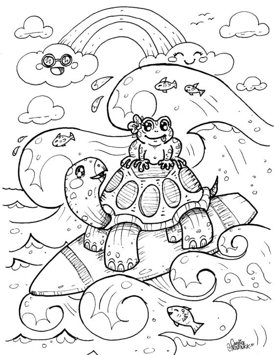Surfing Turtle Colouring Sheet