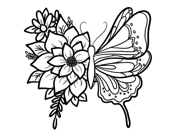 Floral Butterfly Coloring Sheet