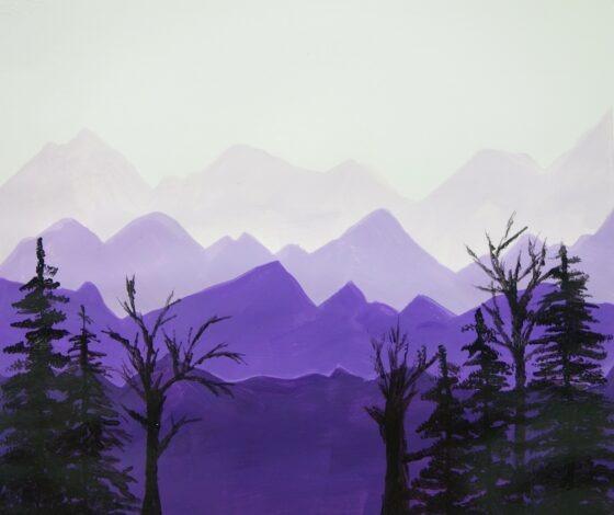 Monochromatic Mountain Painting