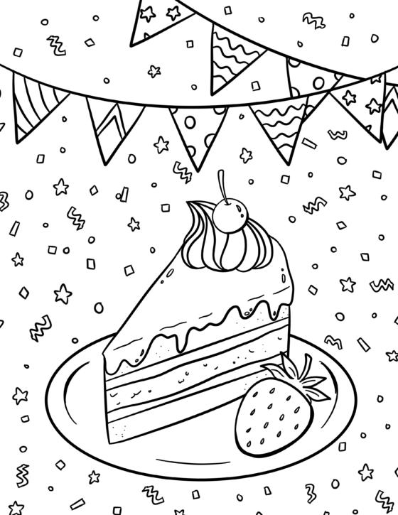 Birthday Cake Colouring Sheet