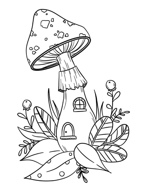 Mushroom House Colouring Sheet